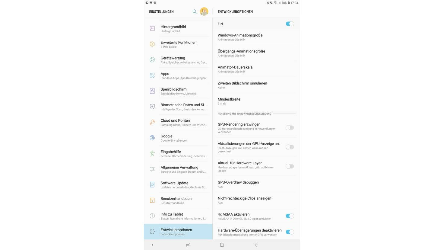 Android-Entwicklermodus-Animationen