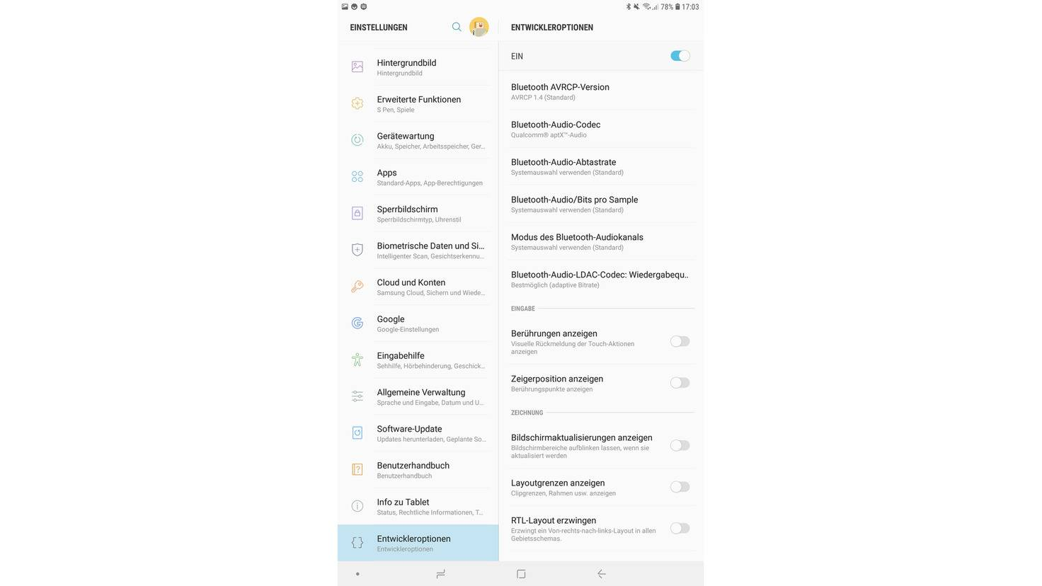 Android-Entwicklermodus-Bluetooth