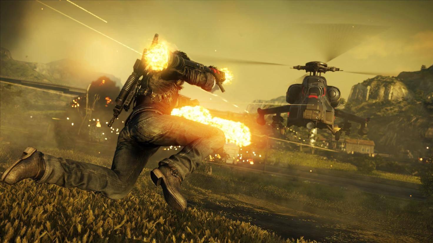 Zwei aus allen Rohren ballernde Helikopter gegen Rico Rodriguez – unfair. Für die Helikopter.
