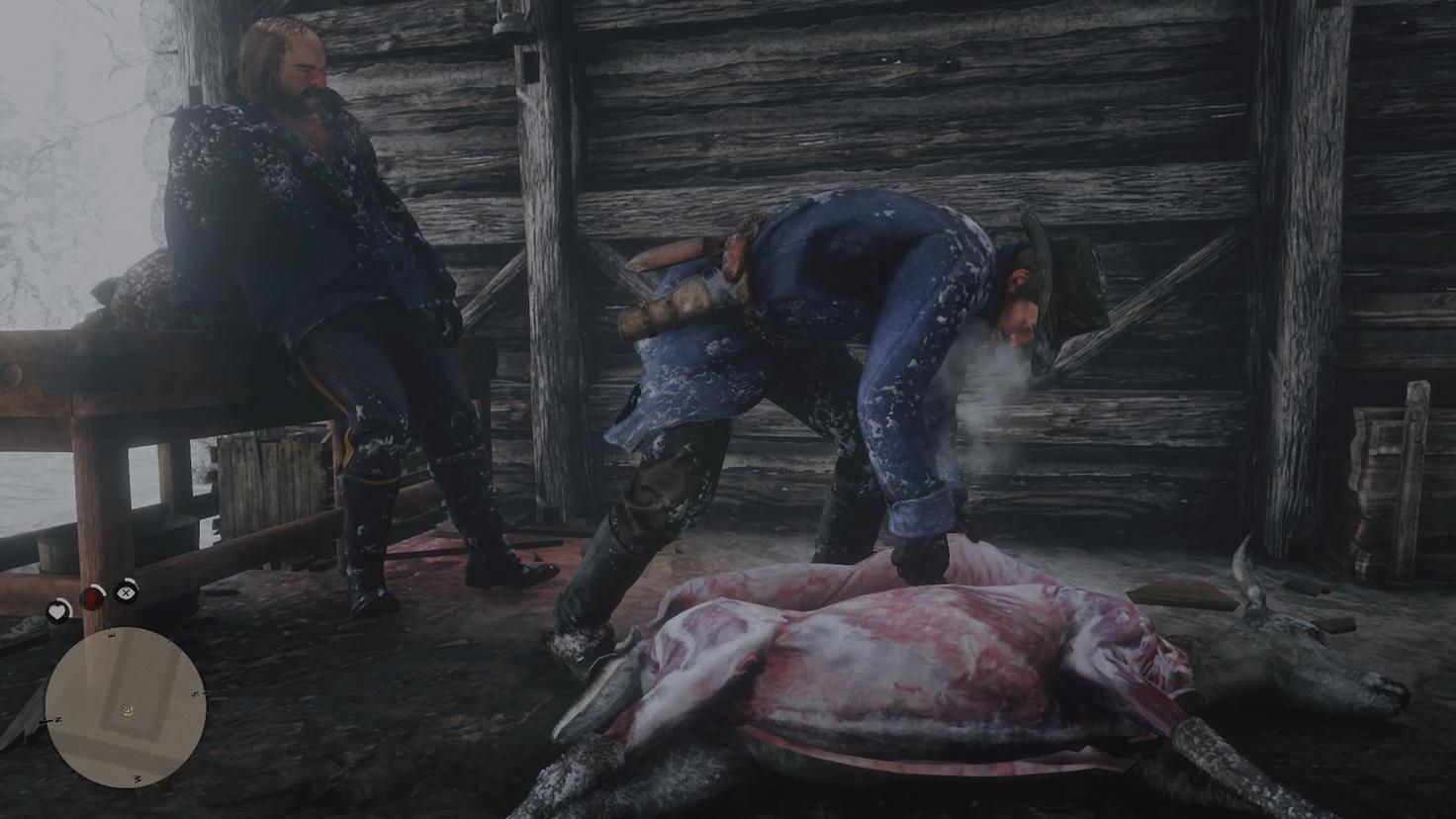 Nach der Jagd häutet Arthur Morgan einen Hirsch. Die besten Felle bekommt er, wenn er nur einen Schuss braucht.