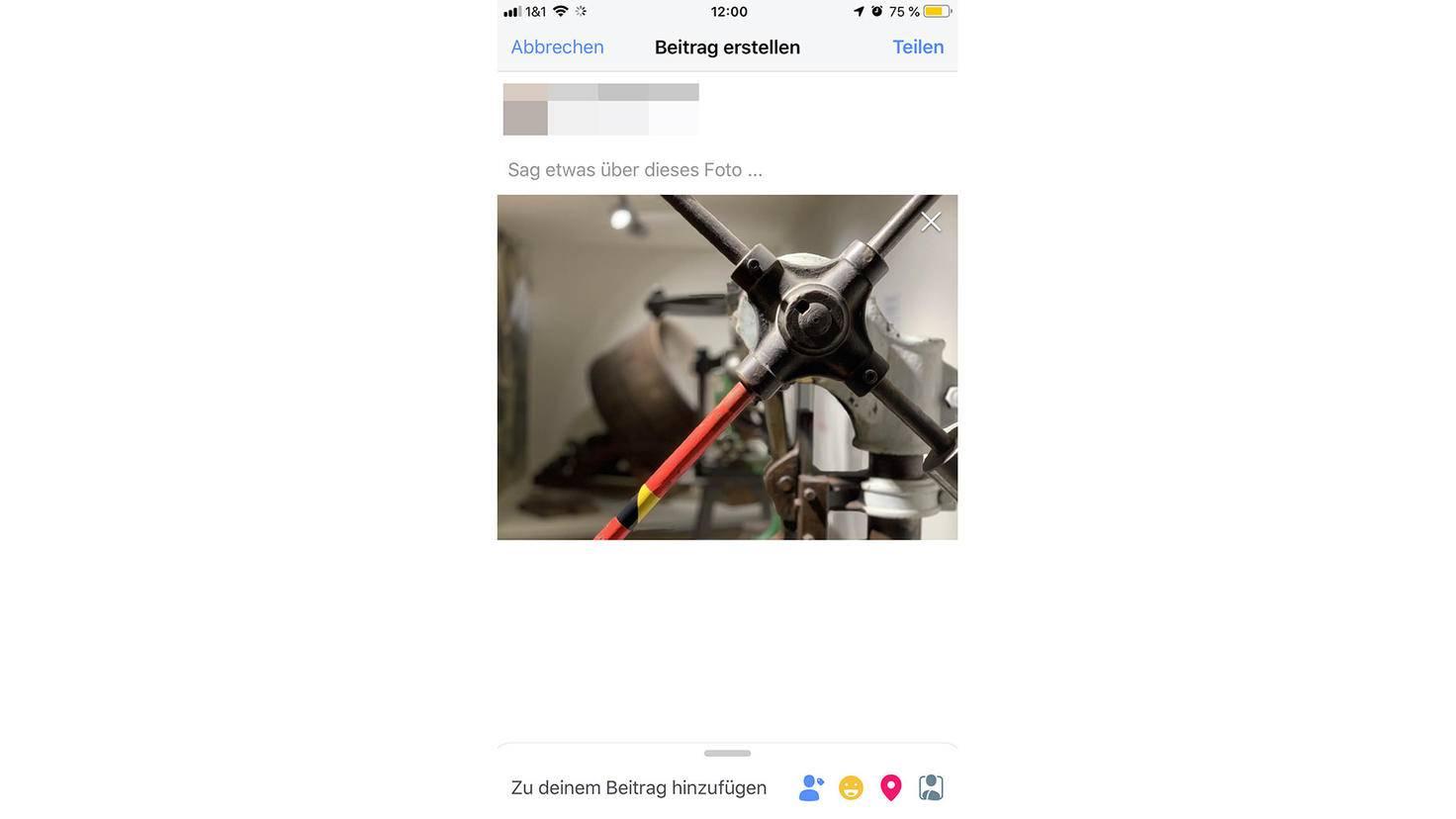 ...um das 3D-Bild auf Facebook posten zu können.