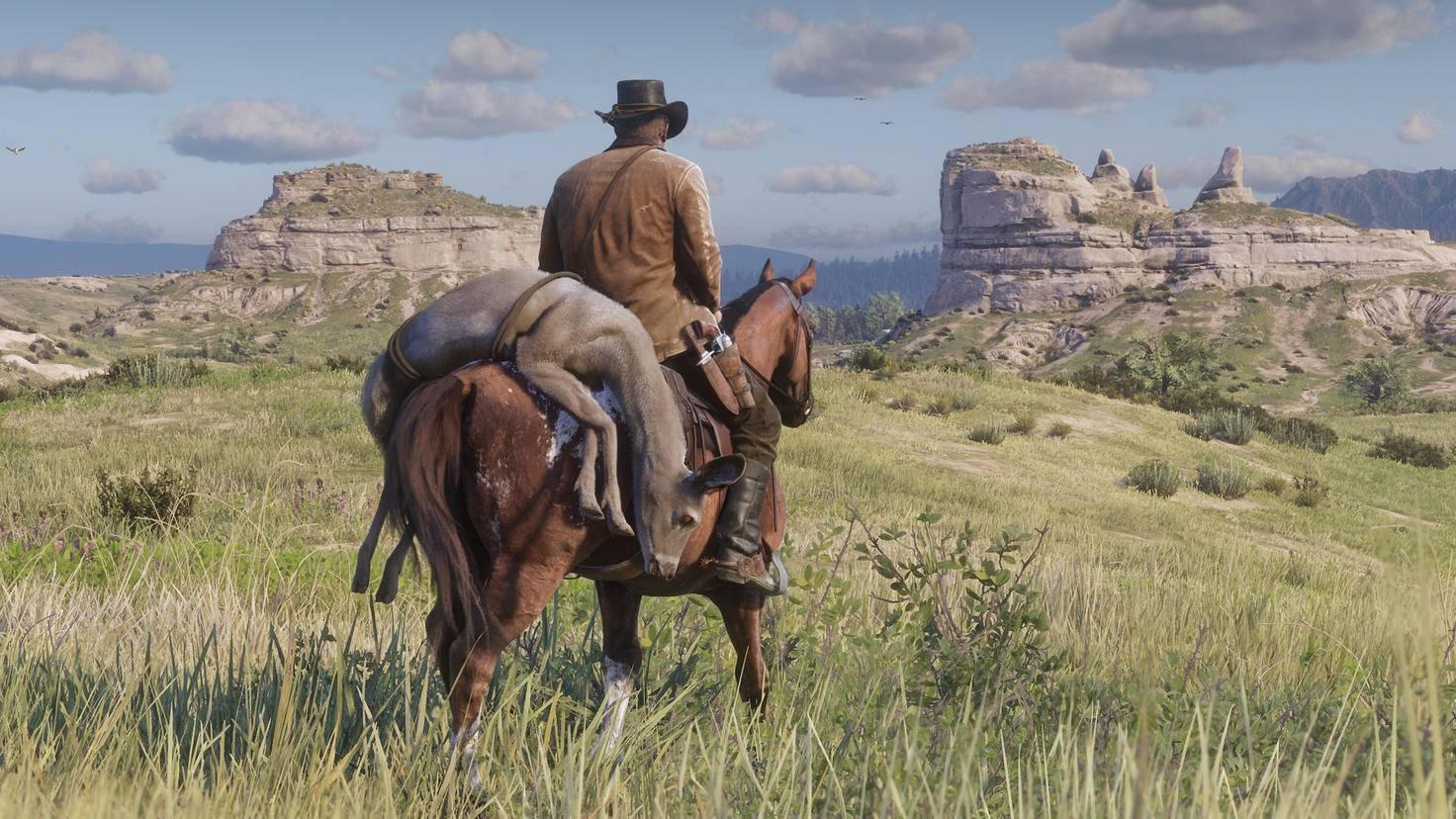 Felle und erlegte Tiere transportierst Du auf dem Pferderücken.
