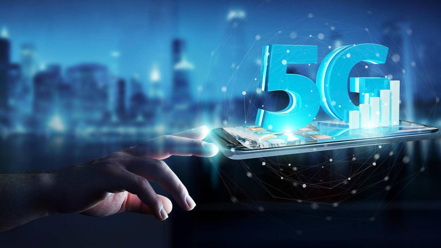 Businessman using 5G network with mobile phone 3D rendering