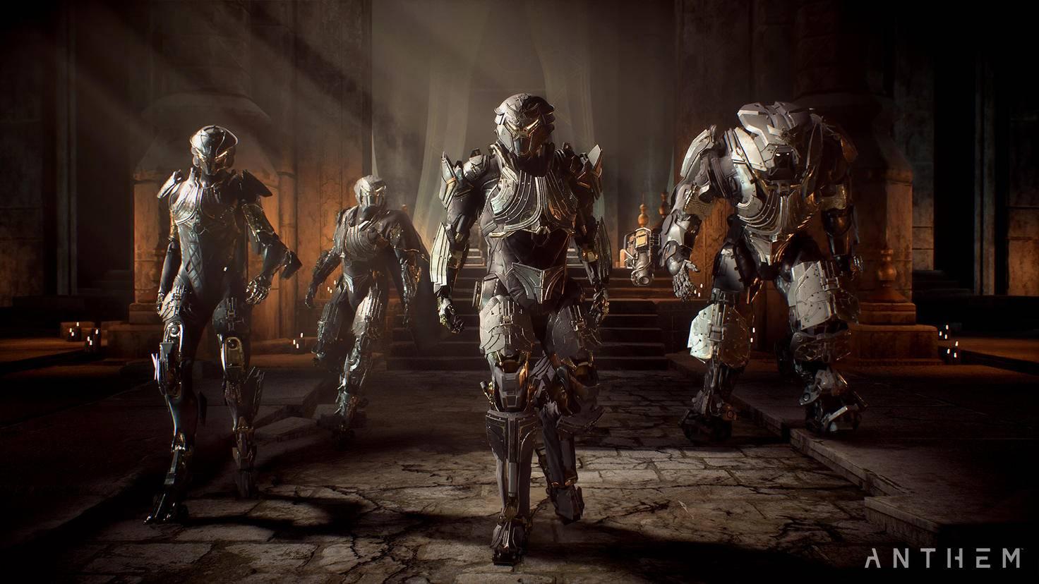 """Die Spezial-Rüstungen der """"Legion der Dämmerung"""" gibt es nur als Teil einer bestimmten Sonderedition von """"Anthem"""". Die Unterschiede zu den Standard-Javelins sind aber rein kosmetisch."""