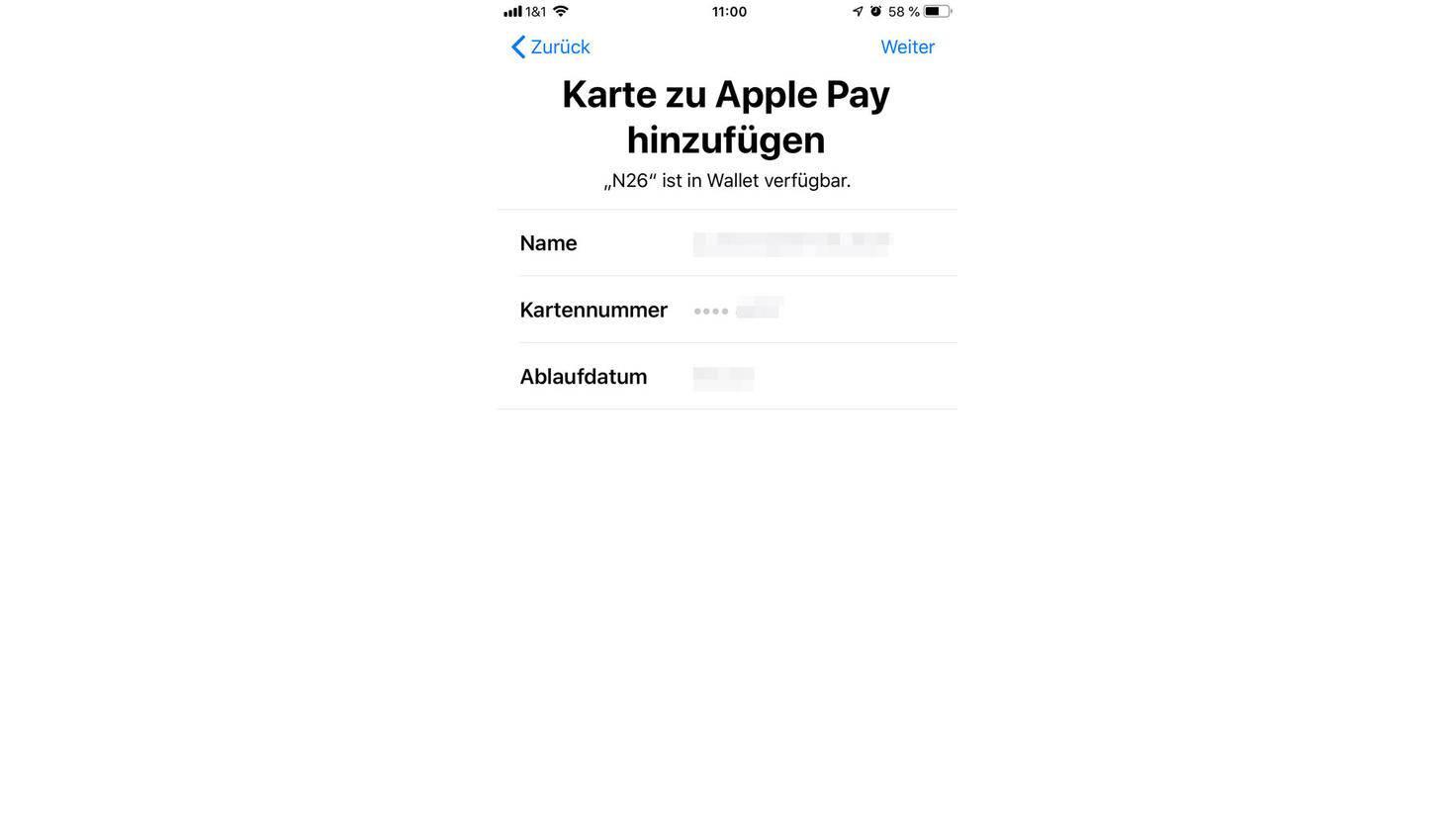 Ist die Prüfung erfolgreich, kannst Du die Karte ab sofort für Apple Pay nutzen.