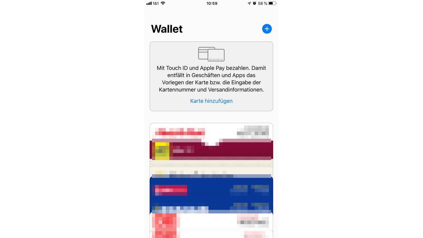 Nach dem Start der Wallet-App kannst Du eine Karte über das Plus-Zeichen hinzufügen.