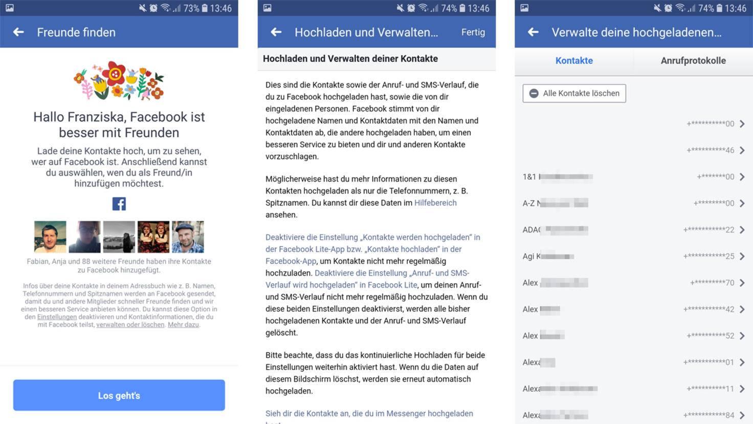 Facebook möchte gerne die Kontakte von Deinem Smartphone hochladen, um Freunde für Dich zu finden.