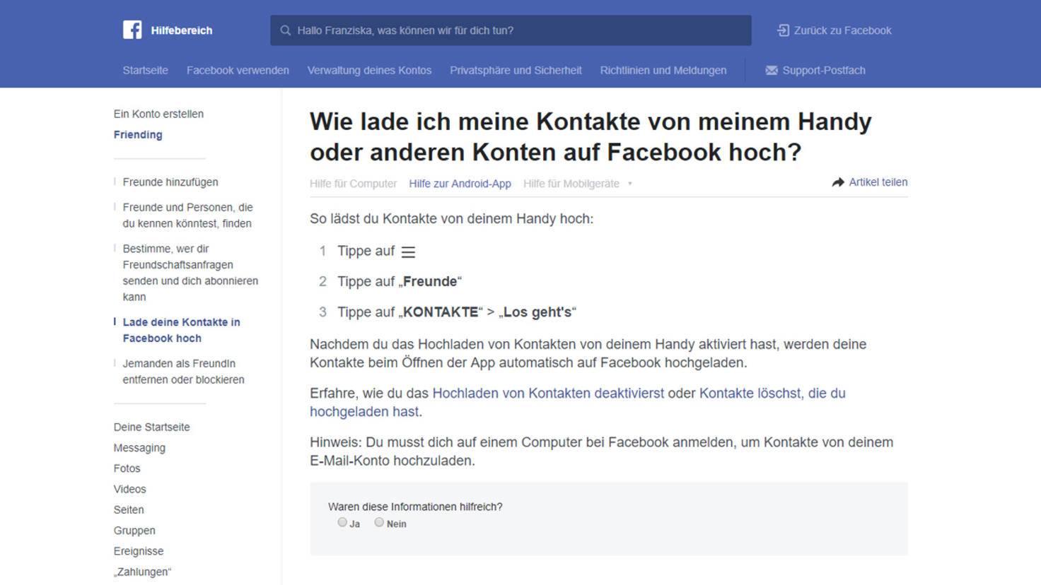 Facebook freundschaftsvorschläge benachrichtigung deaktivieren