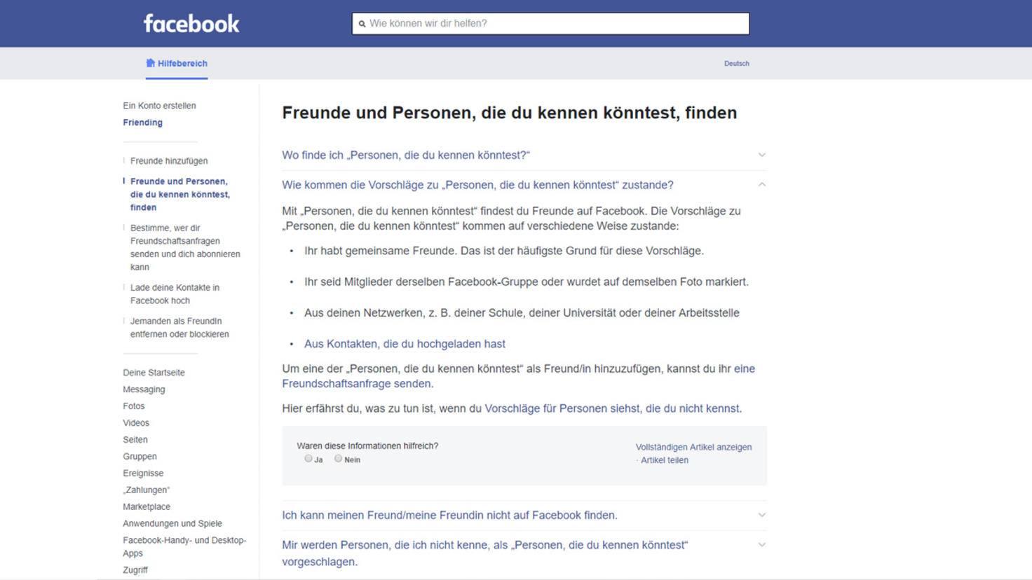Facebook Personen die du kennen koenntest
