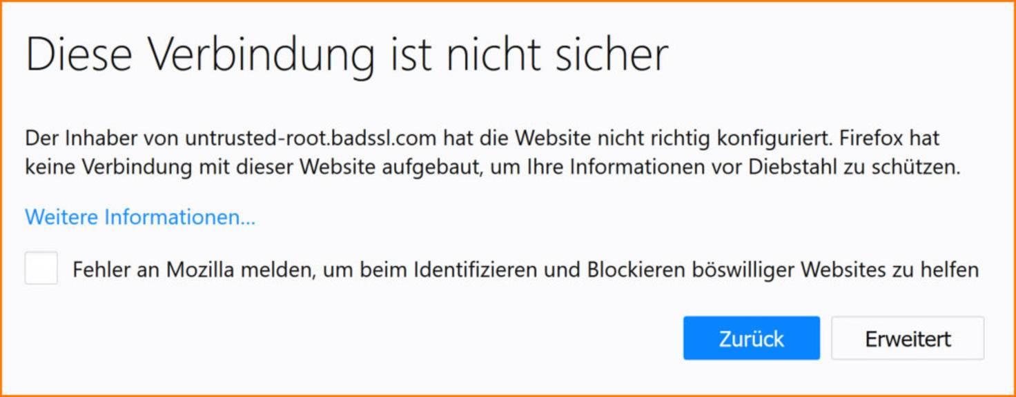 Firefox Verbindung Ist Nicht Sicher