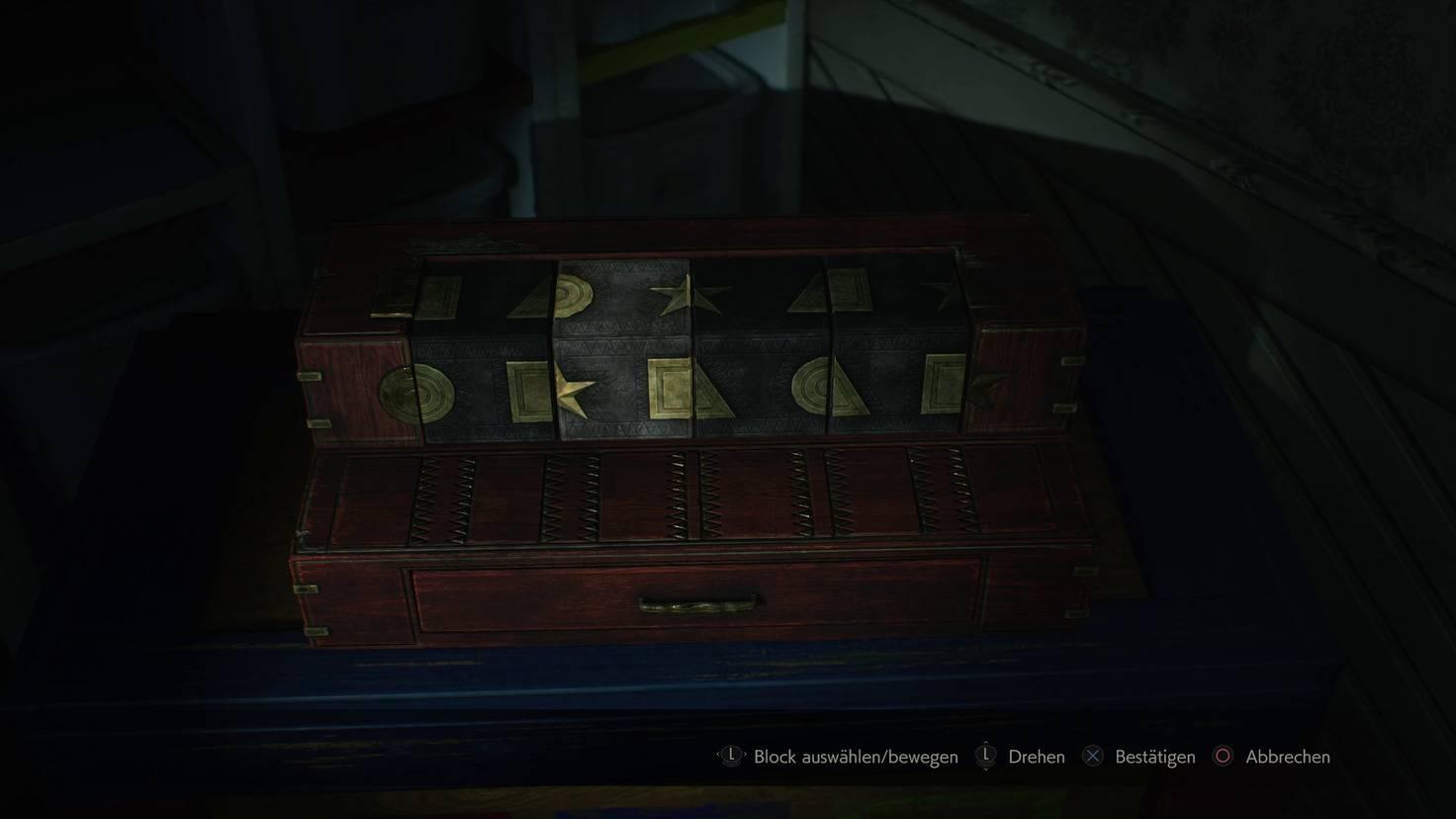 """Ein typisches """"Resident Evil""""-Rätsel. Zuerst musste ich den fehlenden Block finden und die Blöcke dann in die richtige Reihenfolge bringen."""