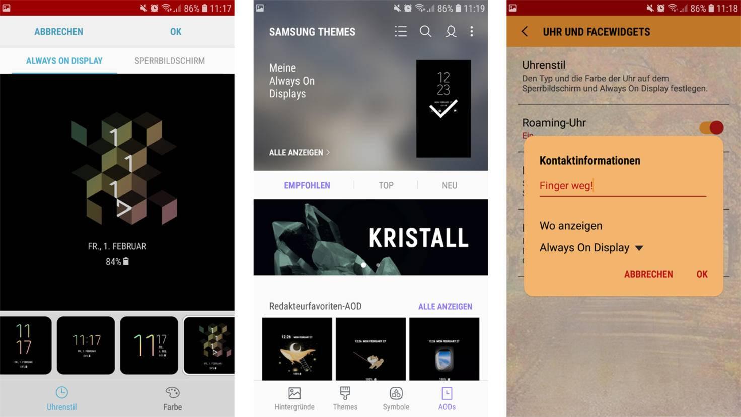 Du kannst auch weitere Designs herunterladen oder persönliche Nachrichten auf den Screen schreiben.
