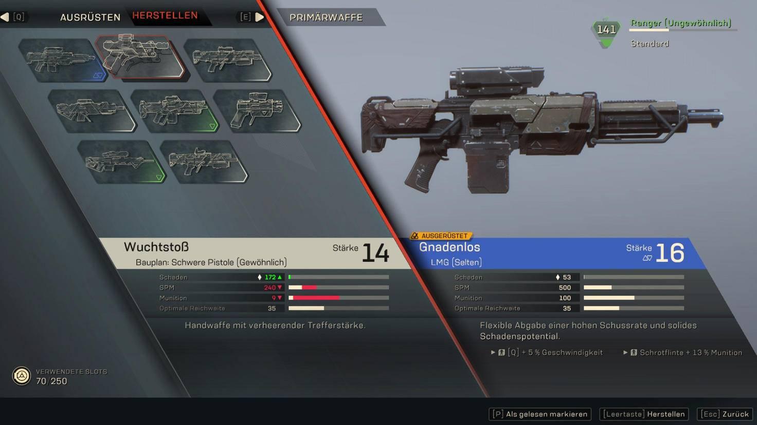 Links im Bild sind die derzeit herstellbaren Waffen zu sehen.