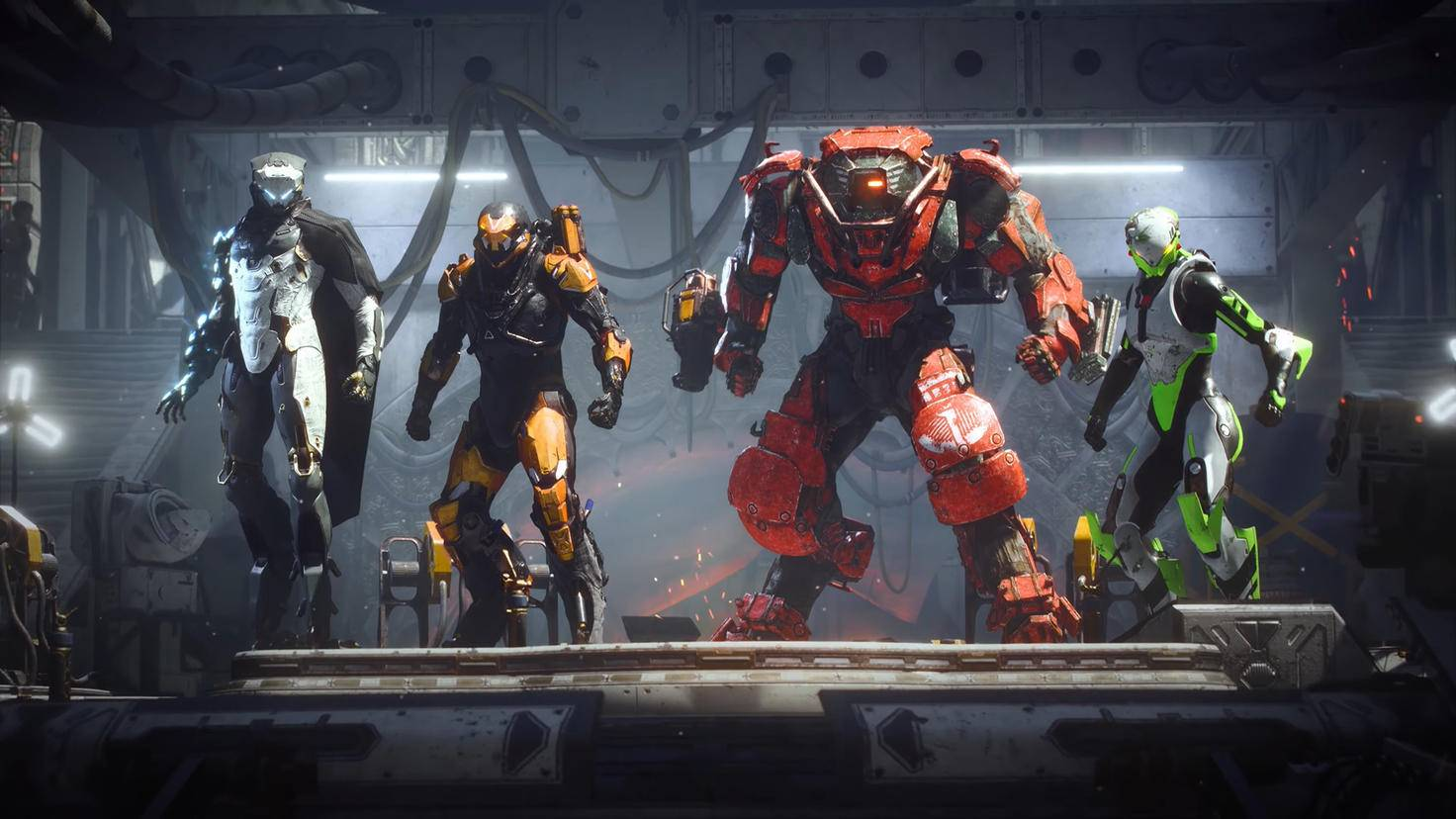 Die vier Javelin-Klassen: Storm, Ranger, Colossus und Interceptor (von links nach rechts). Ich kann meinen Anzug zwischen den Missionen wechseln und ihn optisch sowie im Loadout anpassen.