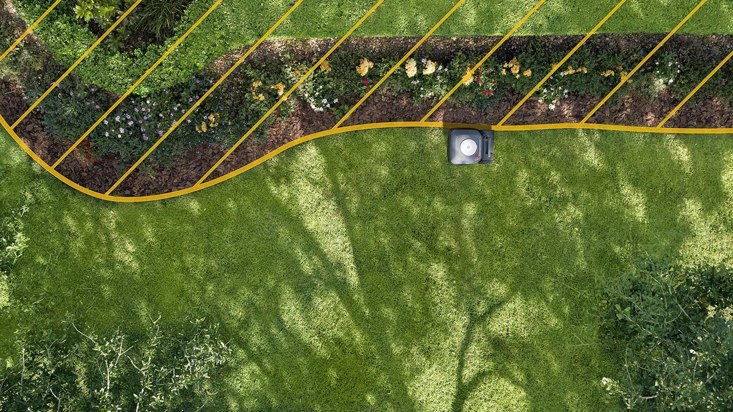 Die frei stehenden Sende-Elemente signalisieren dem Terra genau, wo er mähen soll – und wo nicht.