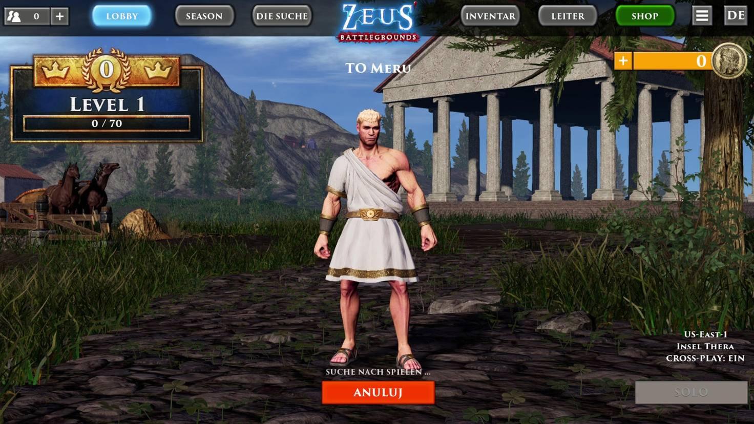 """So richtig Lust auf """"Zeus Battlegrounds"""" macht der Lobby-Bildschirm nicht ..."""