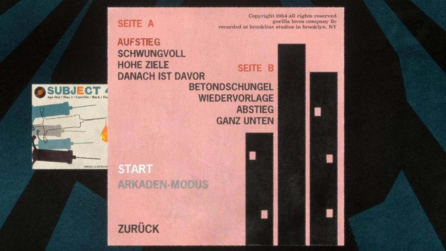 Musikalischer Seiten-Hieb: Die Levelauswahl ist als Plattencover mit Tracklist verwirklicht.