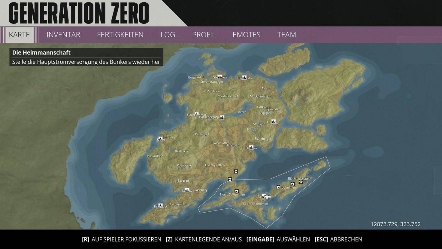 """Die komplette Spielwelt von """"Generation Zero"""". Im markierten Bereich im Süden: die bereits durchaus umfangreiche Tutorial-Insel aus der Beta."""