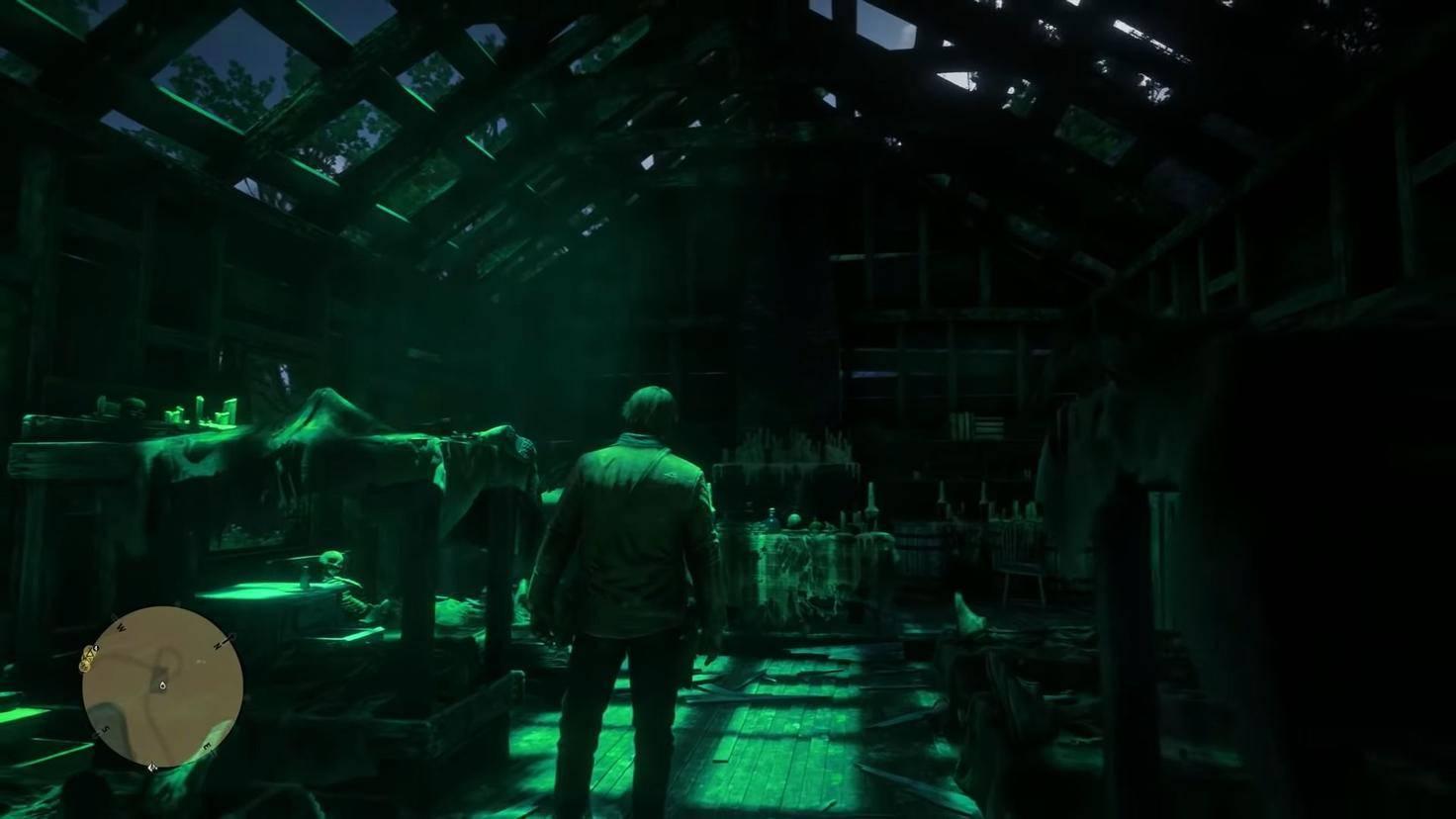 Das Licht des UFOs taucht die Hütte in ein unheimliches Grün.
