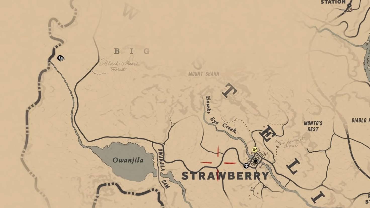 Standort des Trappers bei Strawberry.