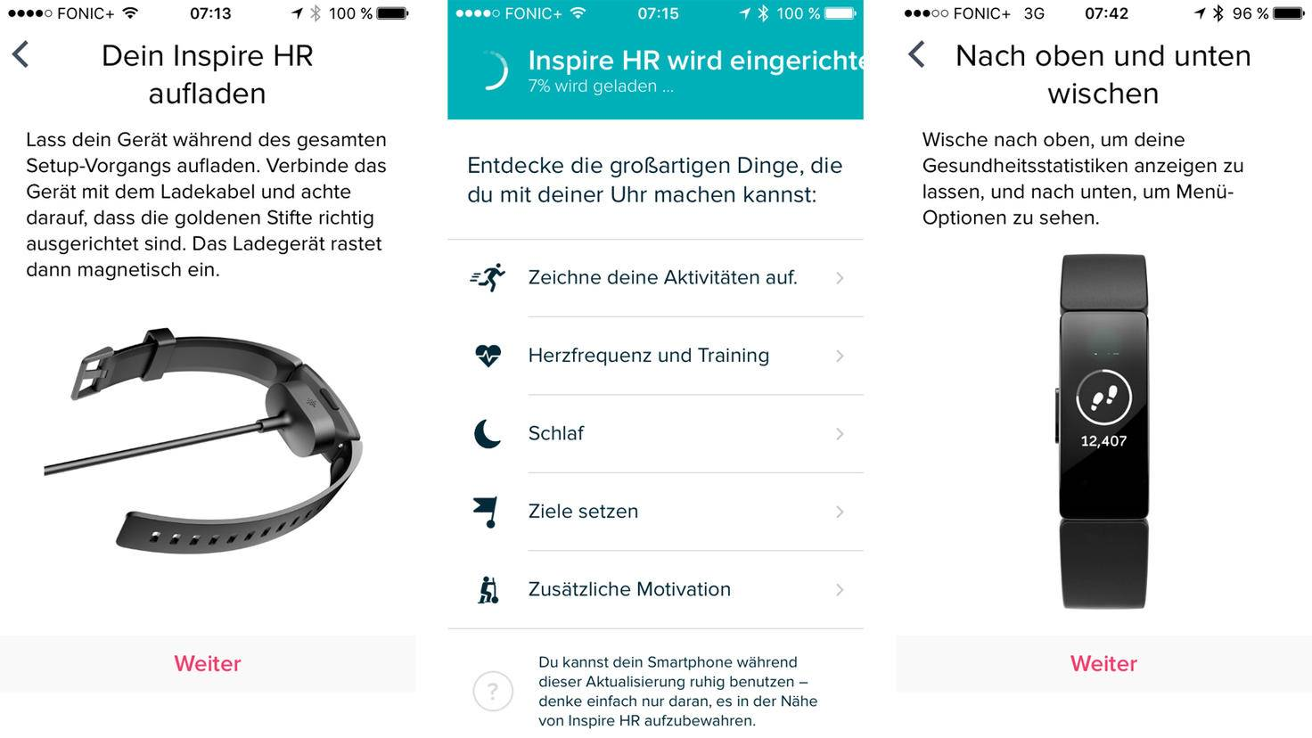 Die Fitbit-App führt Dich Schritt für Schritt durch die Einrichtung des Fitbit Inspire HR.