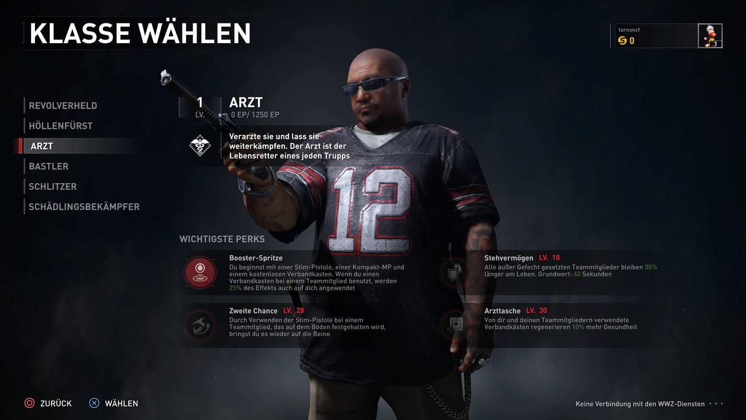 """Sechs Klassen gibt es in """"World War Z"""". Das Aussehen der Spielfigur lässt sich unabhängig davon aus vorgefertigten Charaktermodellen wählen."""