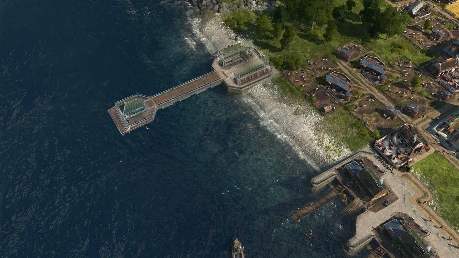 Am Pendlerkai halten Schiffe, um Arbeiter von einer auf die andere Insel zu transportieren.