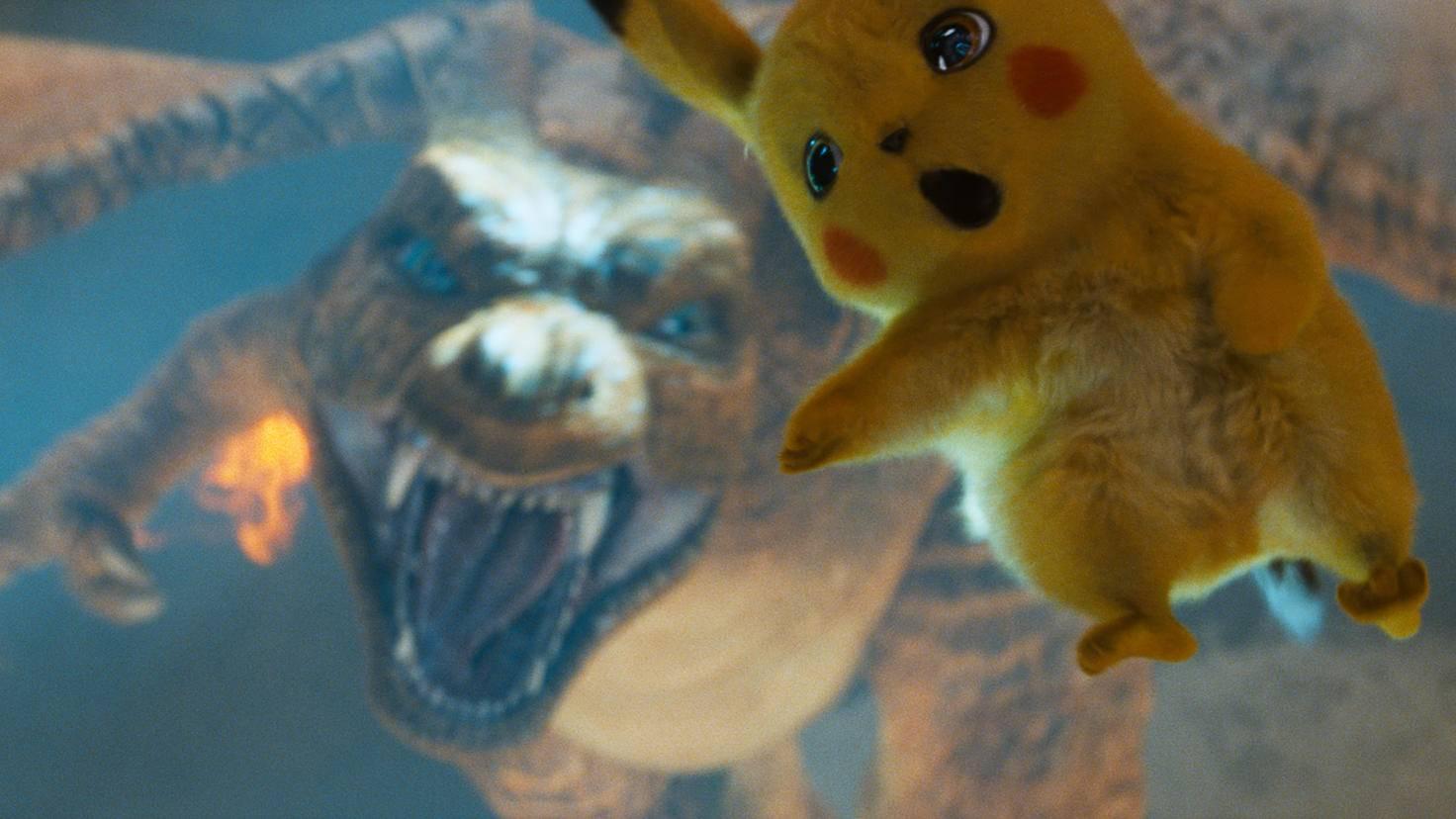 Glurak und Pikachu in Pokémon Meisterdetektiv Pikachu