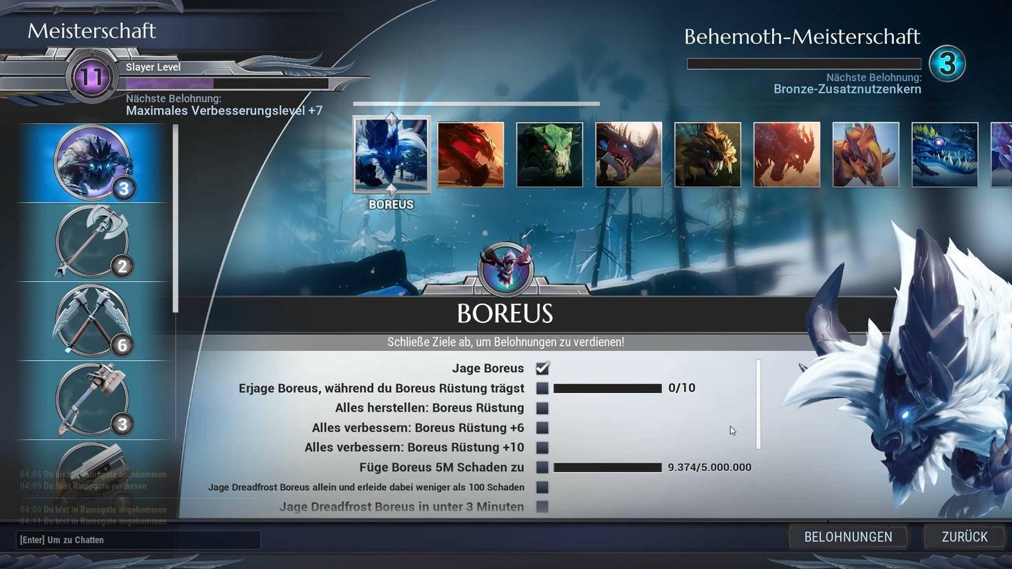 Monster und Waffen haben eigene Meisterschafts-Balken, dazu gibt es ein Spieler-Level.