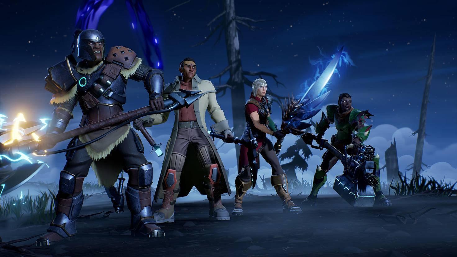 """Dauntless""-Waffen von links nach rechts: Axt, Kettenklingen, Schwert, Hammer"