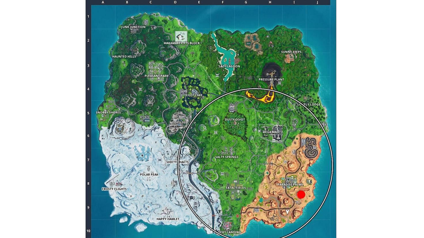 Der rote Punkt markiert, wo Du Fortbyte 81 findest.
