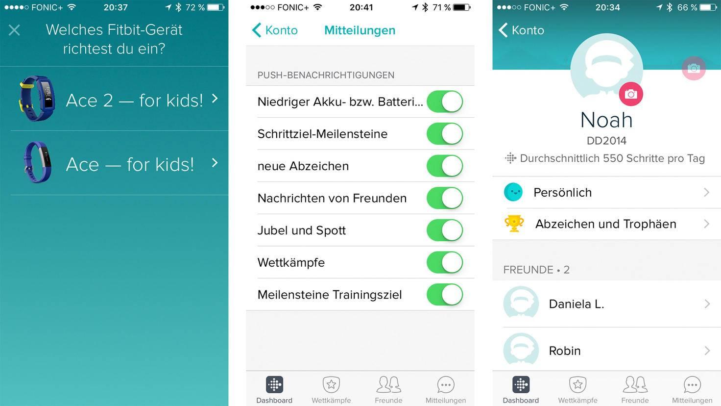 In der Fitbit-App kannst Du auch einstellen, wann Du Mitteilungen erhalten möchtest.