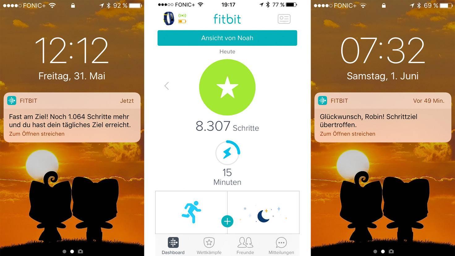 Push-Nachrichten und das persönliche Dashboard der Fitbit-App geben Überblick und motivieren.