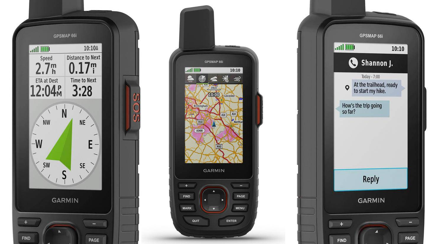 Kompass, Kartennavigation und Zwei-Wege-Kommunikation gehören zu den Features des 66i.