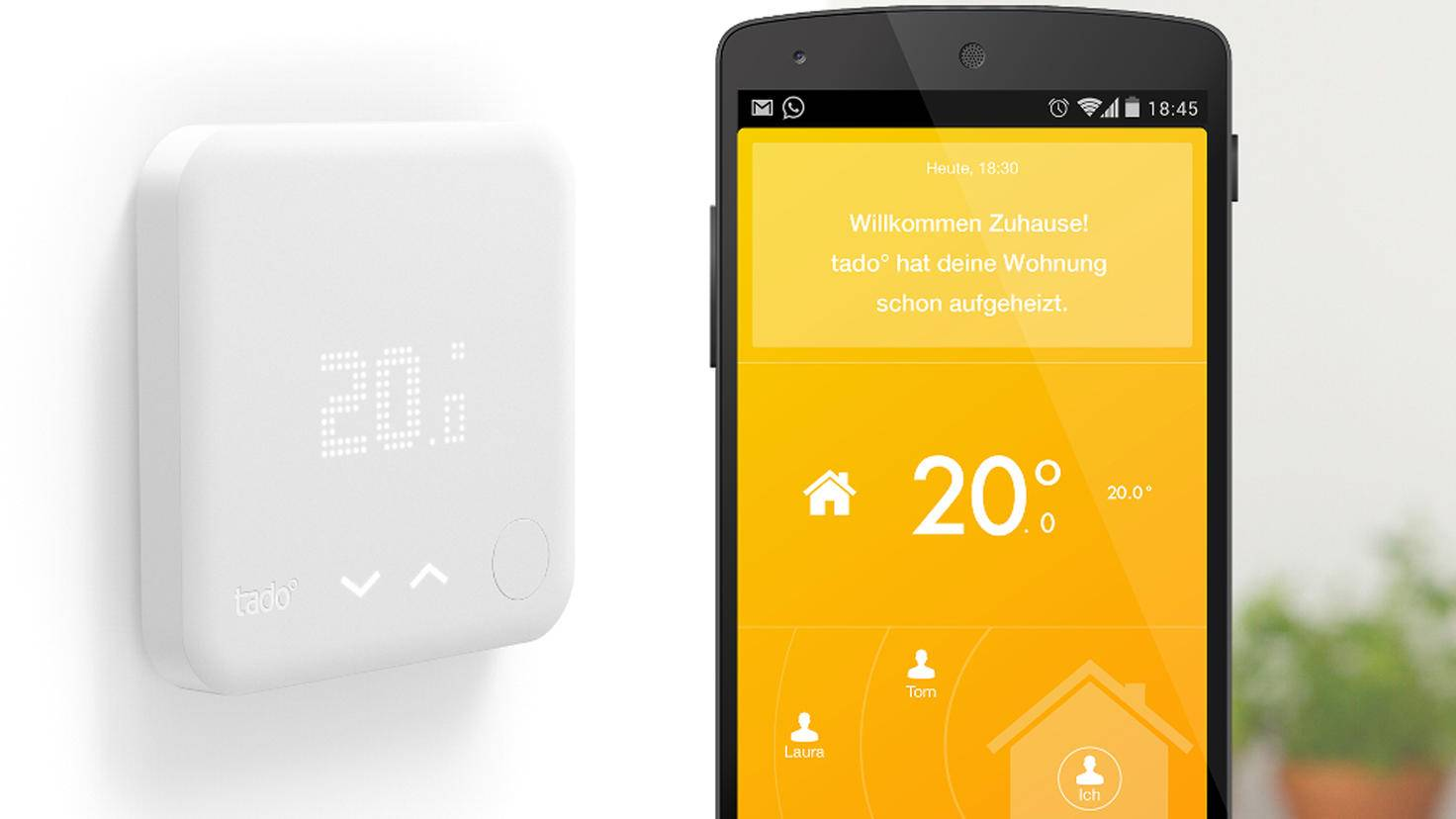 Die Tado-App steuert den Thermostaten und der die Heizung.