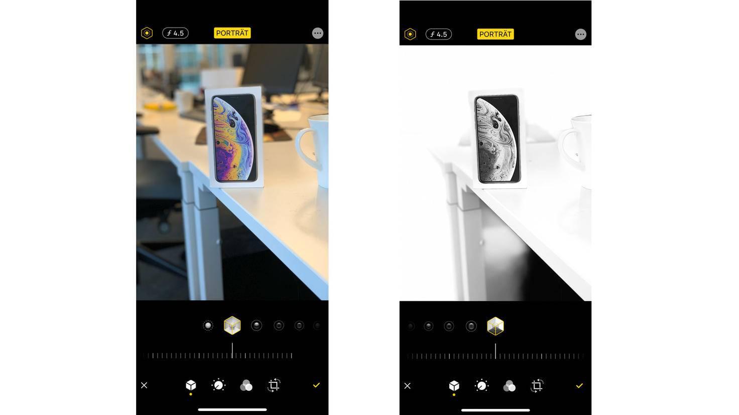 """Im Modus Portträtlicht lässt sich in iOS 13 die Intensität von Porträtlicht-Effekten verändern, außerdem steht ein neuer Modus namens """"High‑Key Mono"""" zur Verfügung."""