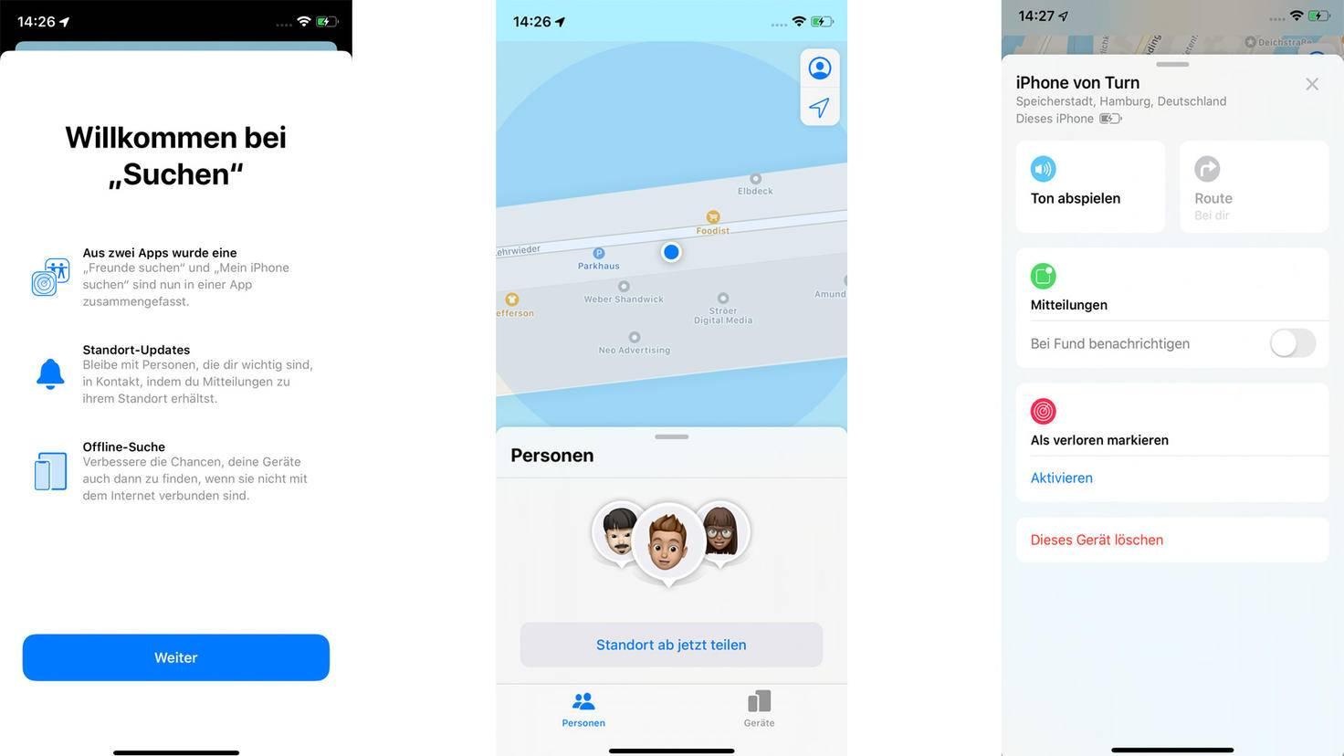 """Die neue """"Suchen""""-App führt zwei Apps zusammen, kommt im neuen Design daher – und kann ein verlorenes iPhone auch dann orten, wenn dieses offline ist."""