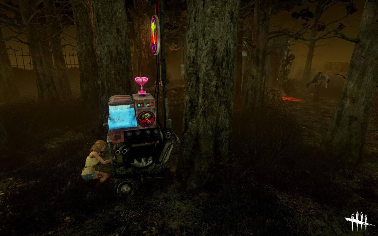 Man schraubt an einem Generator, während der Killer rechts im Bild sein Opfer anschleppt – da muss man cool bleiben.