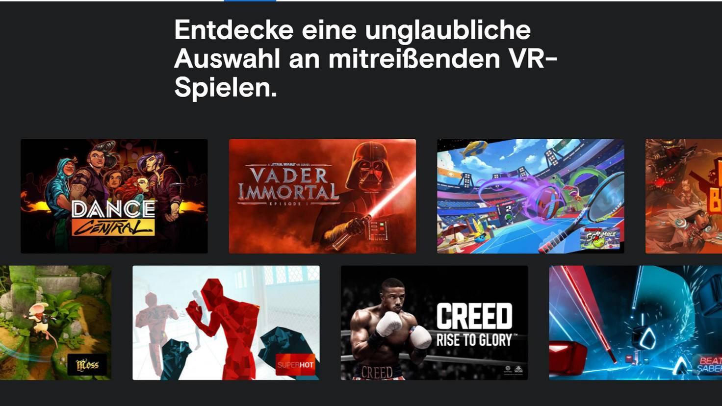 """So """"unglaublich"""" wie auf der Oculus-Website angekündigt ist die Auswahl noch nicht – aber das kann ja noch werden ..."""