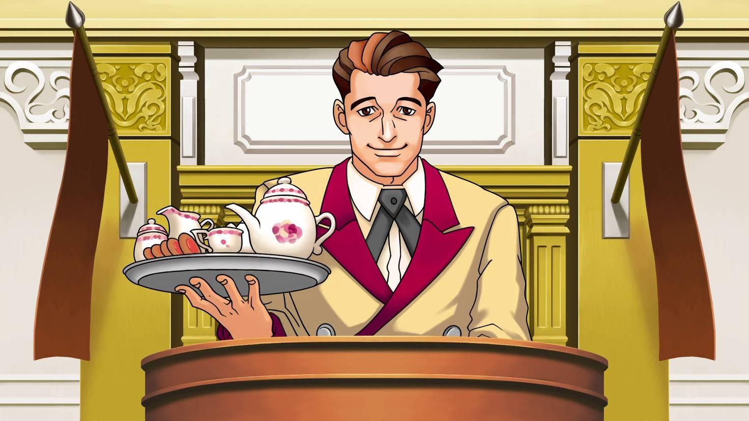 Der Hotelpage hat gleich sein Teeservice mit zur Verhandlung gebracht.