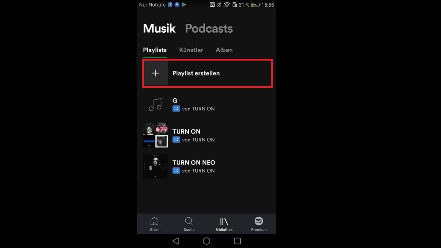"""In der App findest Du die Funktion unter """"Bibliothek"""">""""Musik"""">""""Playlist erstellen""""."""