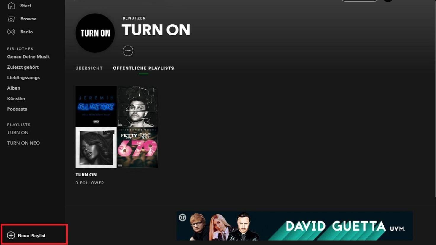 """In der Desktop-Version findest Du die Schaltfläche """"Neue Playlist erstellen"""" am linken unteren Bildschirmrand."""