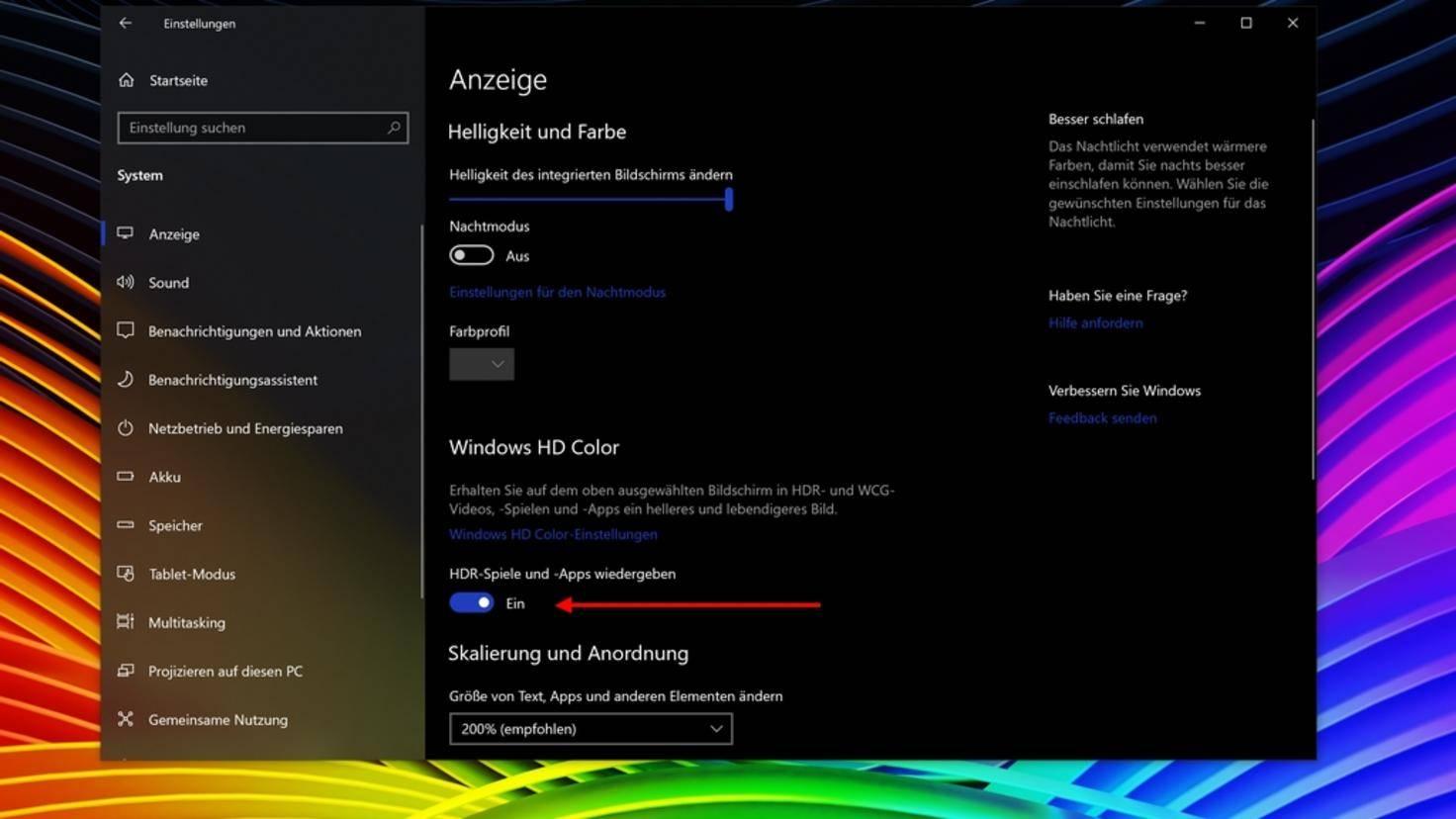"""Über den Schieberegler """"HDR-Spiele und -Apps wiedergeben"""", kannst Du die HDR-Unterstützung aktivieren."""