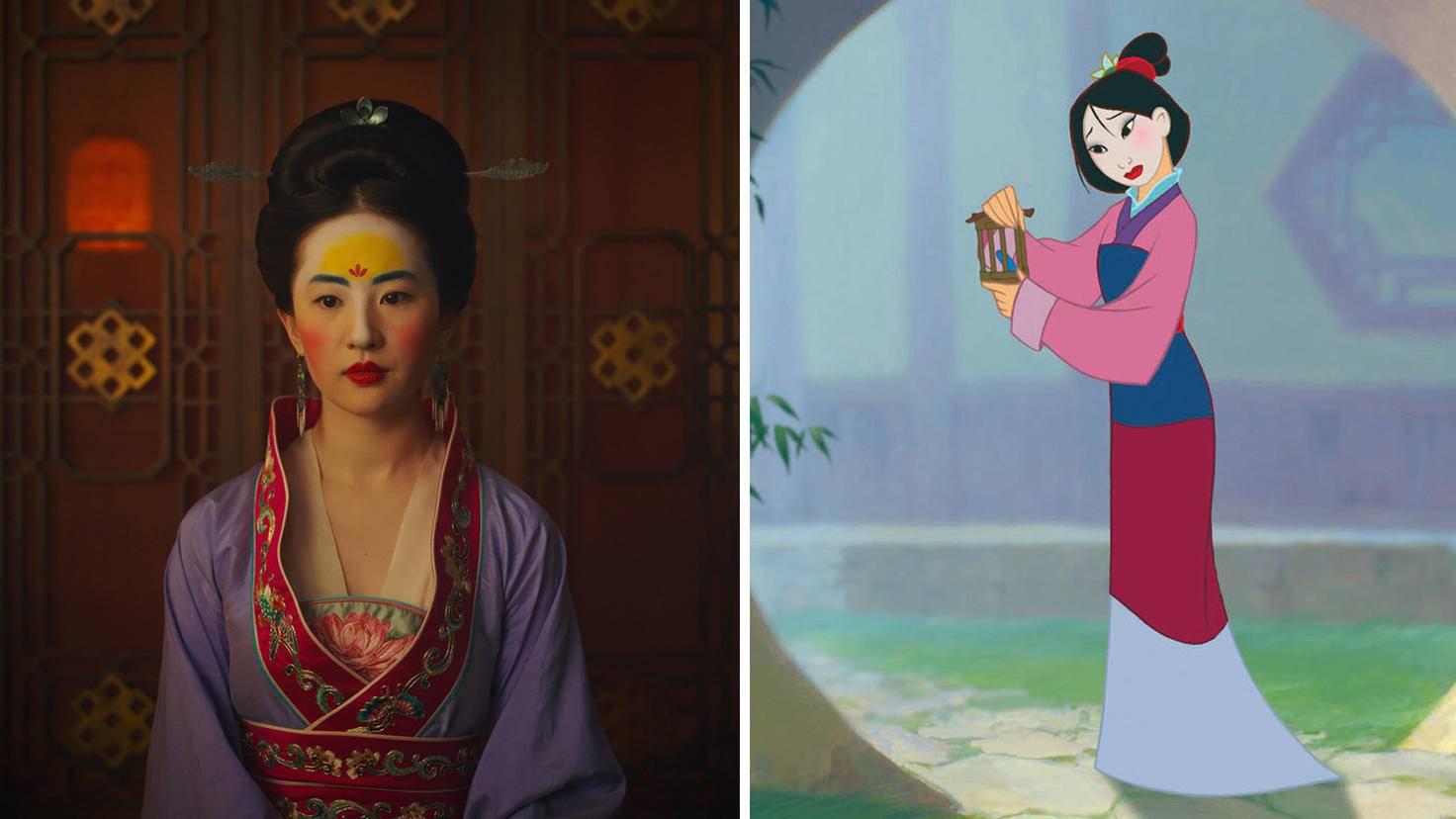 Das Braut-Make-up von Mulan fällt in der Realverfilmung deutlich bunter aus als im Animationsfilm.