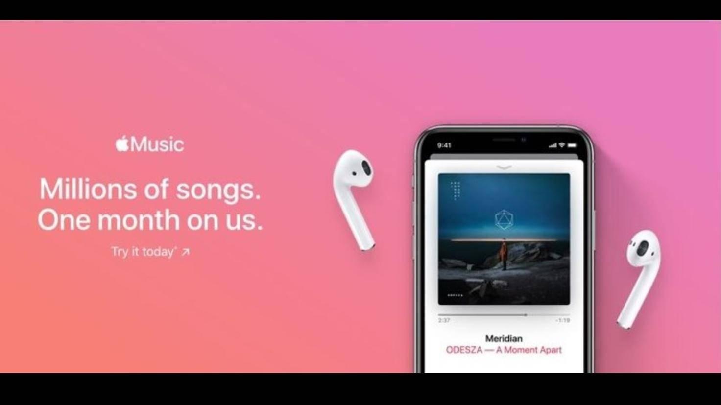Screenshot von Apple Music Werbebanner