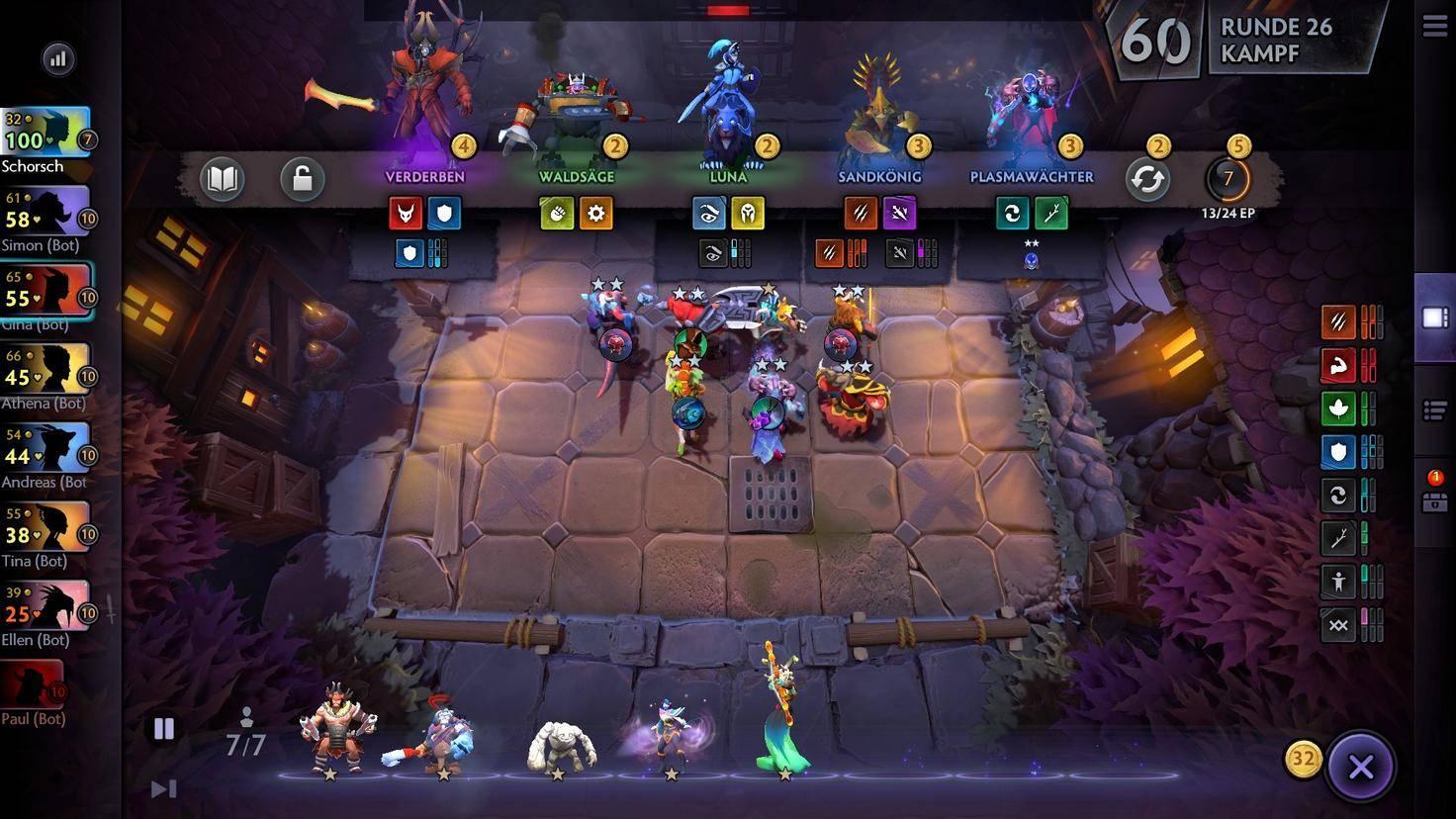 """Das Spielfeld in """"Dota Underlords"""". Oben: Die zufällig gezogenen Helden, aus denen ich auswählen darf. Links: Die acht Spieler der Runde mit ihren Lebenspunkten."""