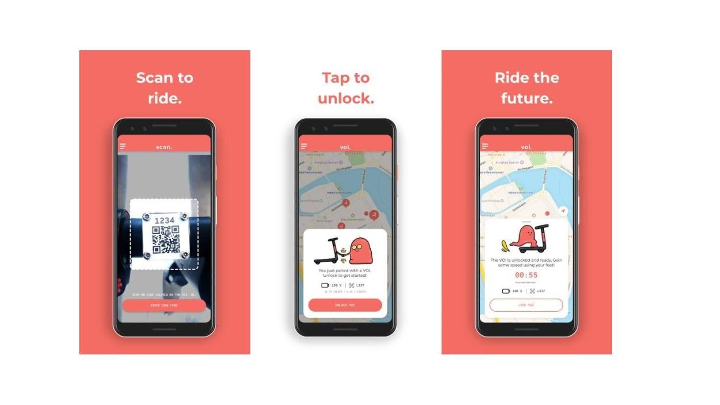 Die App des E-Scooter-Verleihs Voi.