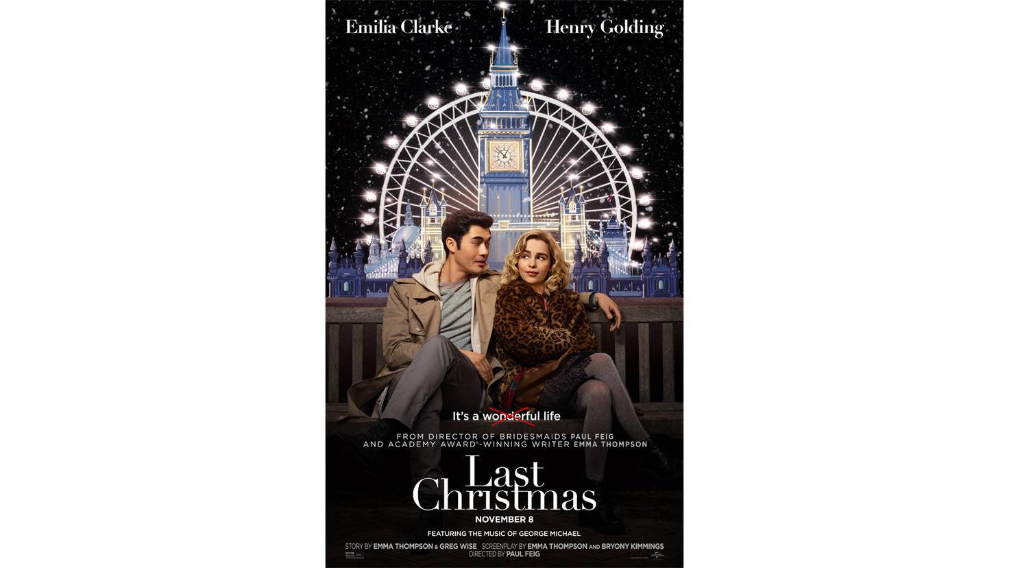 "Offizielles Filmplakat zu ""Last Christmas"" mit Emilia Clarke"