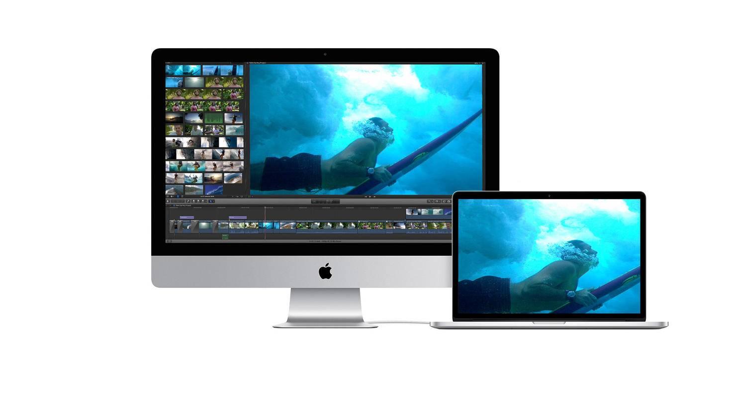 iMac ist mit MacBook per Kabel verbunden