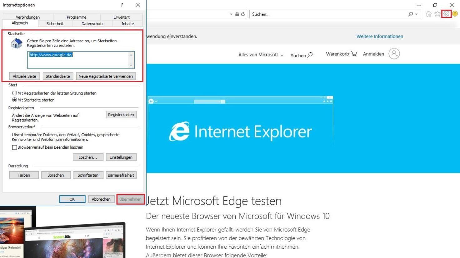 Internet Explorer Startseite festlegen